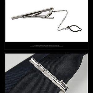 Elegant Silver Crystal French Tie Clip w/Chain